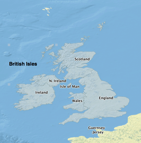 Map showing the parts (labeled)  that make up the British Isles.  Map: Caitlin Dempsey using Natural Earth Data, public domain.