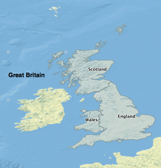 Map showing the parts that make up Great Britain.  Map: Caitlin Dempsey using Natural Earth Data, public domain.