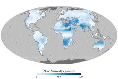 Cloud cover based on 15 years of satellite observations captured by the Moderate Resolution Imaging Spectroradiometer (MODIS) sensors on NASA's Aqua and Terra satellites.