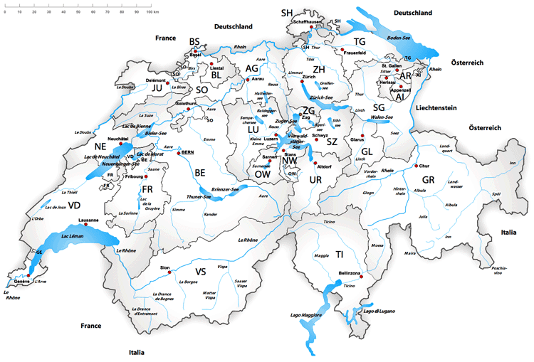 Map of Swiss lakes and rivers. Source: Tschubby, MediaWiki Commons.