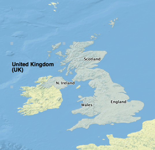 Map showing the parts that make up the United Kingdom. Map: Caitlin Dempsey using Natural Earth Data, public domain.