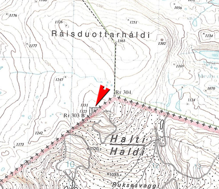 The topo map with the proposed boundary change that Harsson sent to the Norwegian government. Source: Halti som jubileumsgave Facebook page.