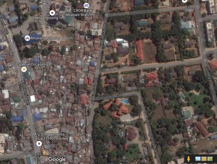 This section of Dar Es Salaam in Tanzania as seen on this screenshot from Google Maps shows a sharp divide between neighborhoods.