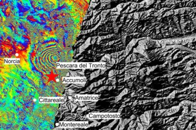 Interferogram showing the ground deformation caused by the August 24, 2016 earthquake in Italy. Source: modified Copernicus Sentinel data (2016)/ESA/ CNR-IREA.