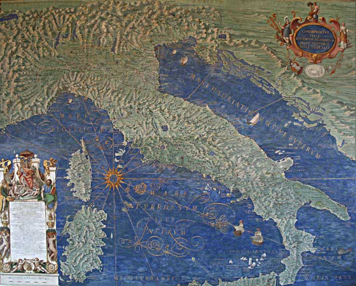 Map of Italy, Corsica and Sardinia in the Gallery of Maps, Vatican. Photo: Jean-Pol Grandmont.
