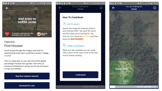 MapSwipe screenshots.