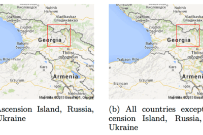 A border dispute between Georgia and Russia on Google Maps. Source: Soeller et al., 2016.