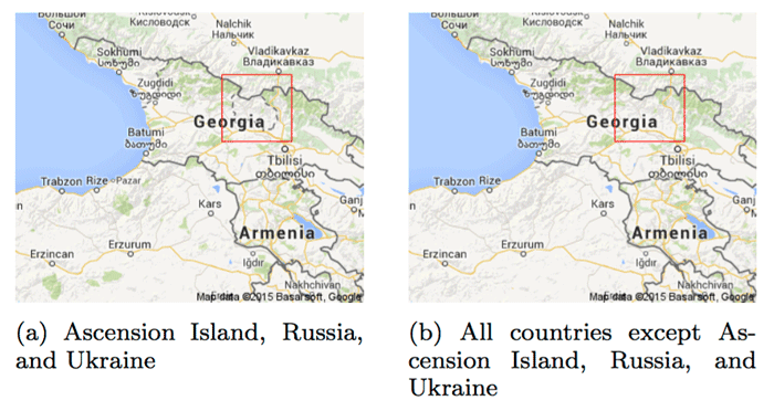 A border dispute between Georgia and Russia on Google Maps.  Source: Soeller et al., 2016.