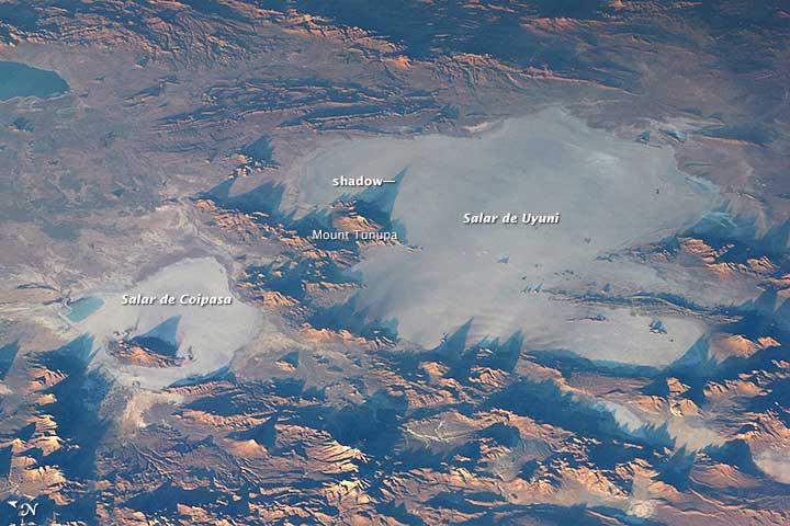 Salar de Uyuni in Bolivia. Beeld: NASA.