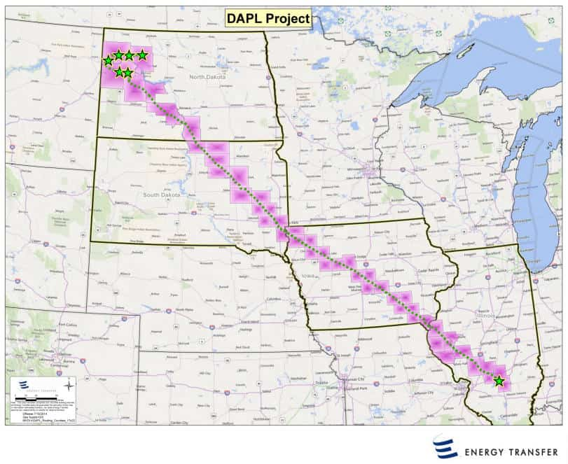 Map showing the pathway of the Dakota Access Pipeline Project. Source: Energy Transfer