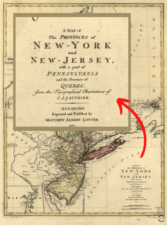 A map of the provinces of New-York and New Jersey, 1777.  The map title has been enlarged for this article.  Map: Library of Congress.