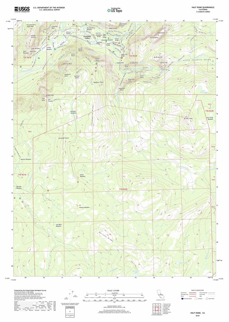 USGS 1:24,000 scale topo map for Half-Dome, 2018.