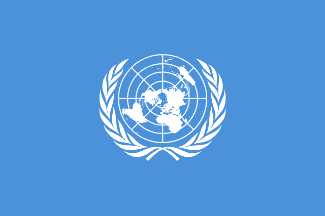Second and final version of the UN emblem as shown on the flag. Adopted December 7, 1946.