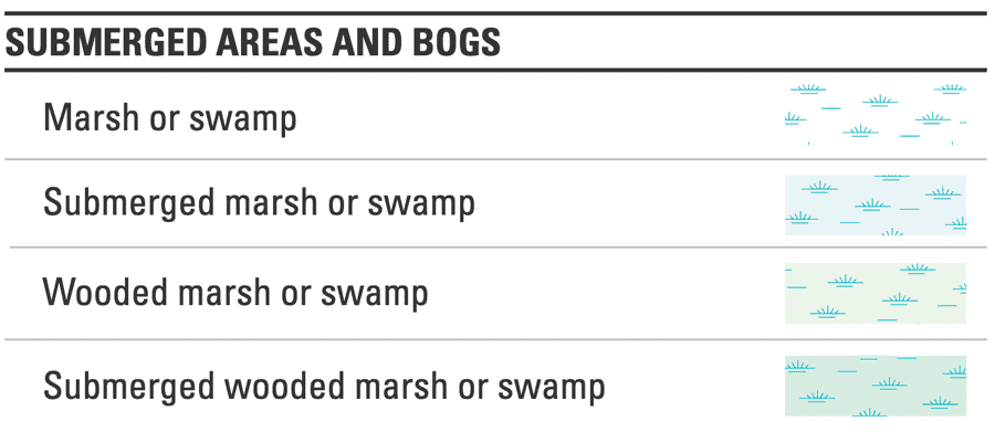 Submerged areas and bogs symbology, USGS topo maps.  Source: USGS.