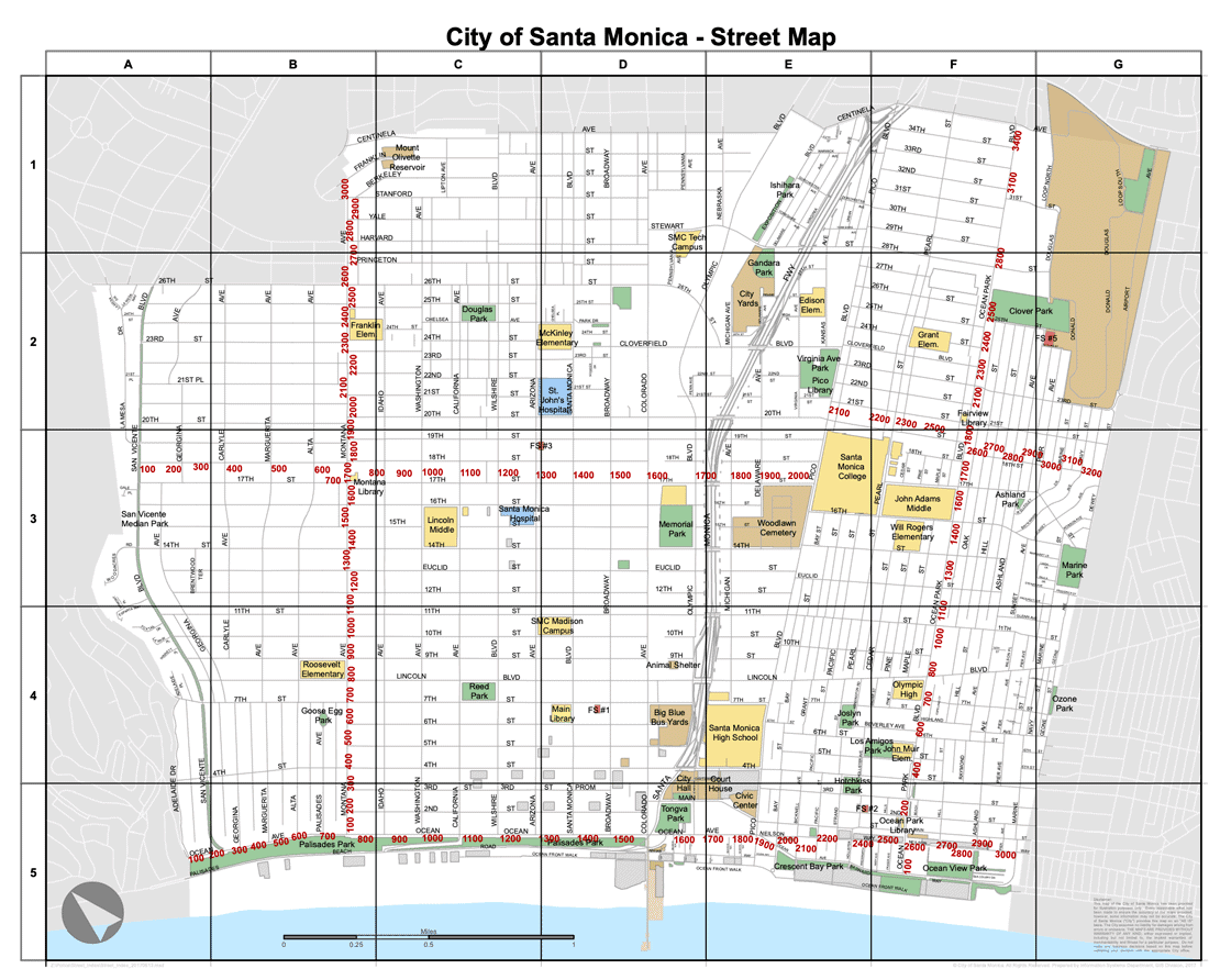 Street map for the City of Santa Monica showing a map rotation of 48 degrees.