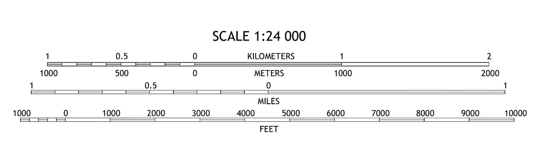 Map scale on a USGS Topo map.