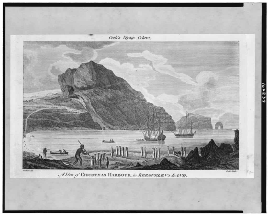 A View of Christmas Harbour, in Kerguelen's Land.  Drawing from a Book on Cook's adventures, created between 1770 and 1880.  Library of Congress