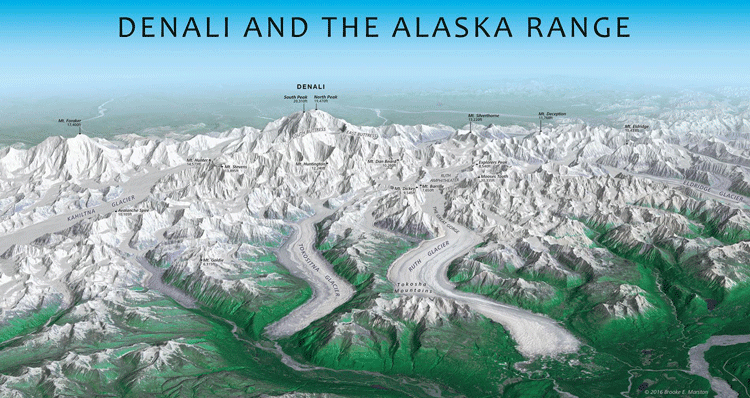 Panoramic map of Denali and the Alaska Range by Brooke Marston, Atlas of Design, Vol. 3.