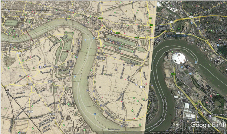 This historical map created in 1843 by Society for the Diffusion of Useful Knowledge (Great Britain) shows the visualized real world river in the Rotherhithe/Isle of Dogs area of London. Map scanned by David Rumsey. Georectification by