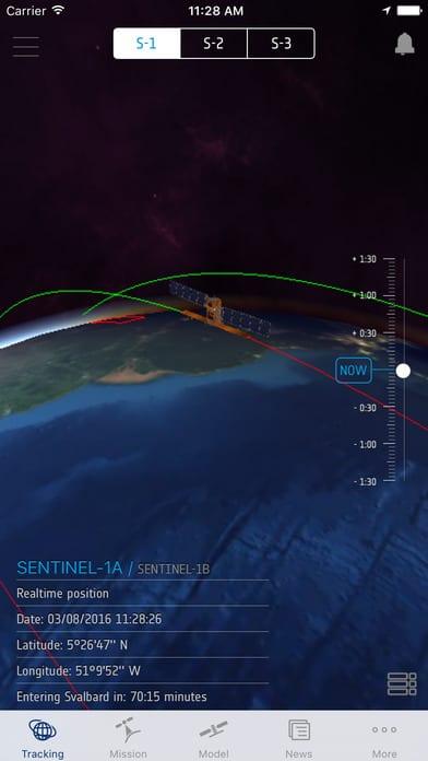 Track Sentinel satellites with the app. Image: ESA.