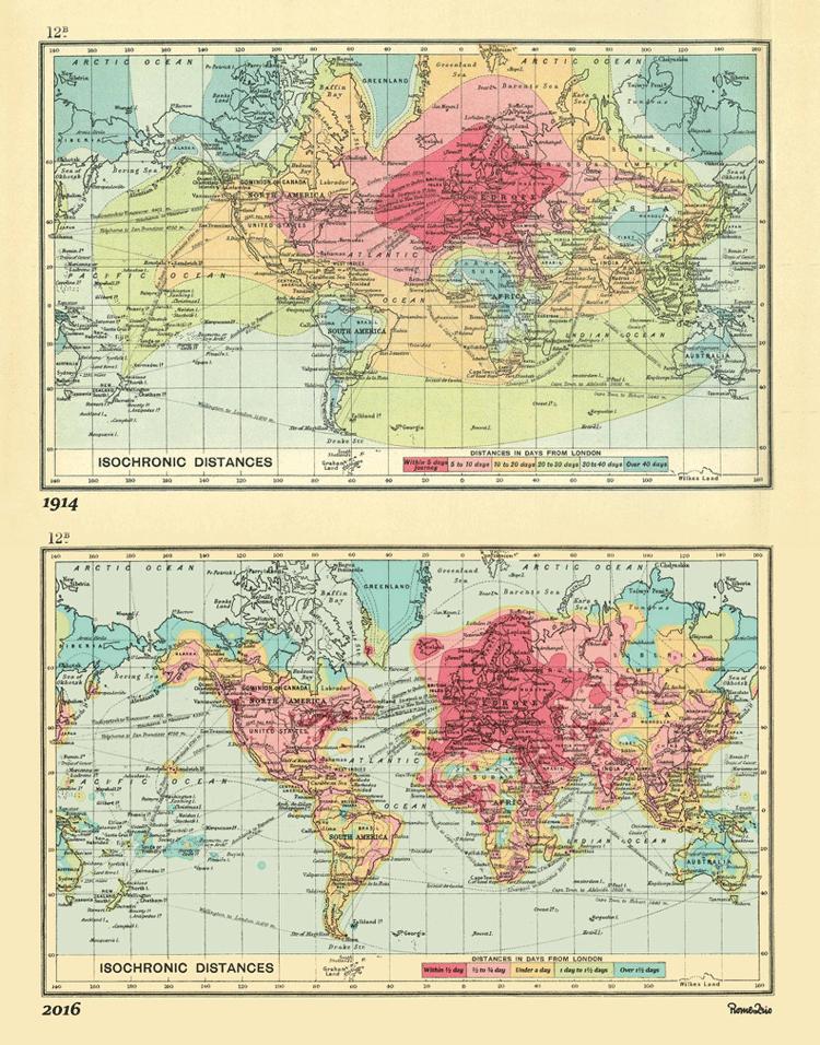 Top map: John G. Bartholomew's 1914 Isochronic Map. Bottom map: Rome2rio's 2016 Isochronic Map.
