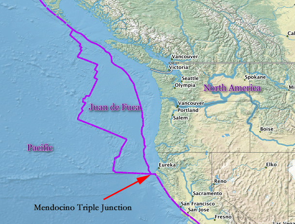 Map showing the Mendocino Triple Junction.