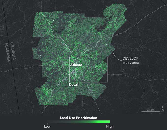 Land use prioritization map, which shows important conservation areas in Atlanta based on criteria such as proximity to waterways and existing green infrastructure. Map: The Nature Conservancy and NASA.