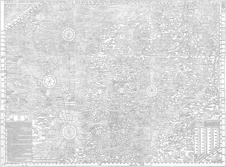 Carta Marina coloring sheet. Click on the image to access the PDF.