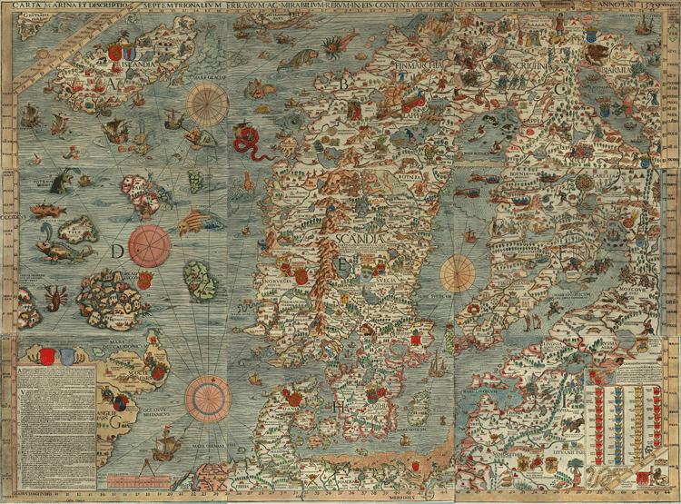 The Carta Marina, 2nd edition, 1572