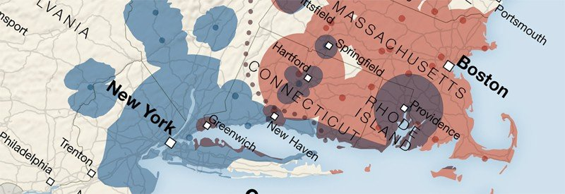 Geography of sports fans: radio station coverage map for broadcasts of Red Sox and Yankees games.  Map: Tim Wallace, 2011.