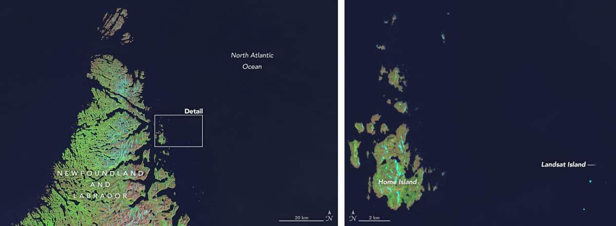 Landsat Island was named after the Landsat 1 satellite.  Landsat 8 captured this image of Landsat Island on July 15, 2014.  Image: NASA, public domain.