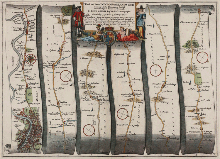 This 17th century road strip map was created by John Ogilby as part of his 1675 Britannia Atlas. The map shows the route from London to Winchester via Staines, Reading and Basingstoke.