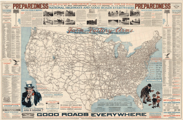 "National Highways Association map (1918) with the headline: ""Some for War! Some for Defense!! Some for Peace!!!"""