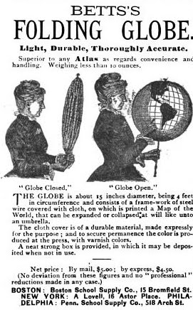 1885 advertisement for Betts's Folding Globe in Publisher Weekly.