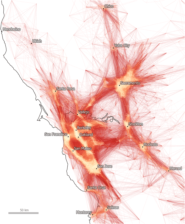 Tract-to-Tract Commutes of 80km/50 miles or less in the Bay Area. Nelson & Rae, 2016.