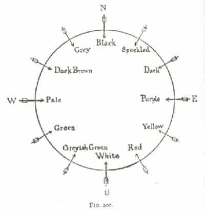 The colours of the twelve winds constructed from the description in the Saltair na Rann. From: A Social History of Ancient Ireland, 1906.