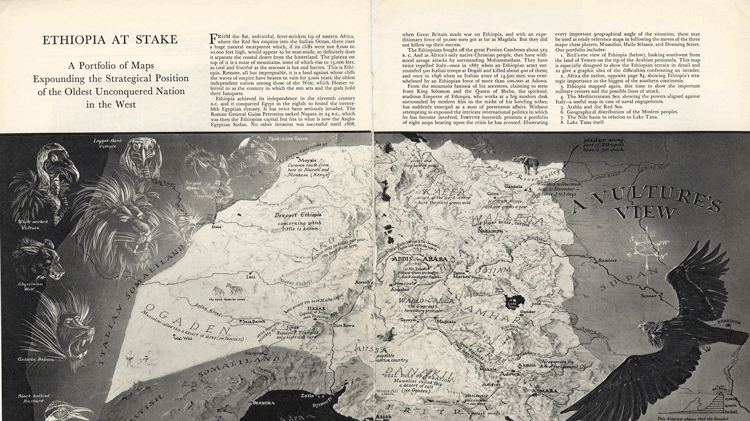 """An example of a persuasive map including illustrations, this one by Richard Edes Harrison, in a Fortune article entitled """"Ethiopia at Stake"""" (1935) via Muehlenhaus, 2013."""