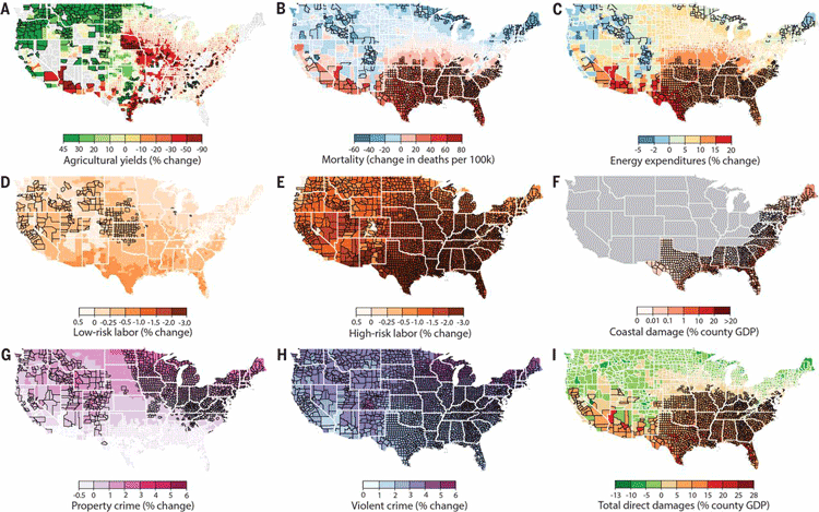 Model Predicts Economic Damage From Climate Change To Be Greatest - Us crime map by county