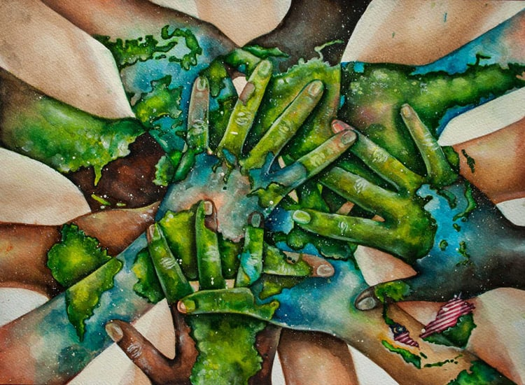 "Winning entry of the 2015 competition: ""The world in our hands"" by Pan Sin Yi (15), Malaysia"