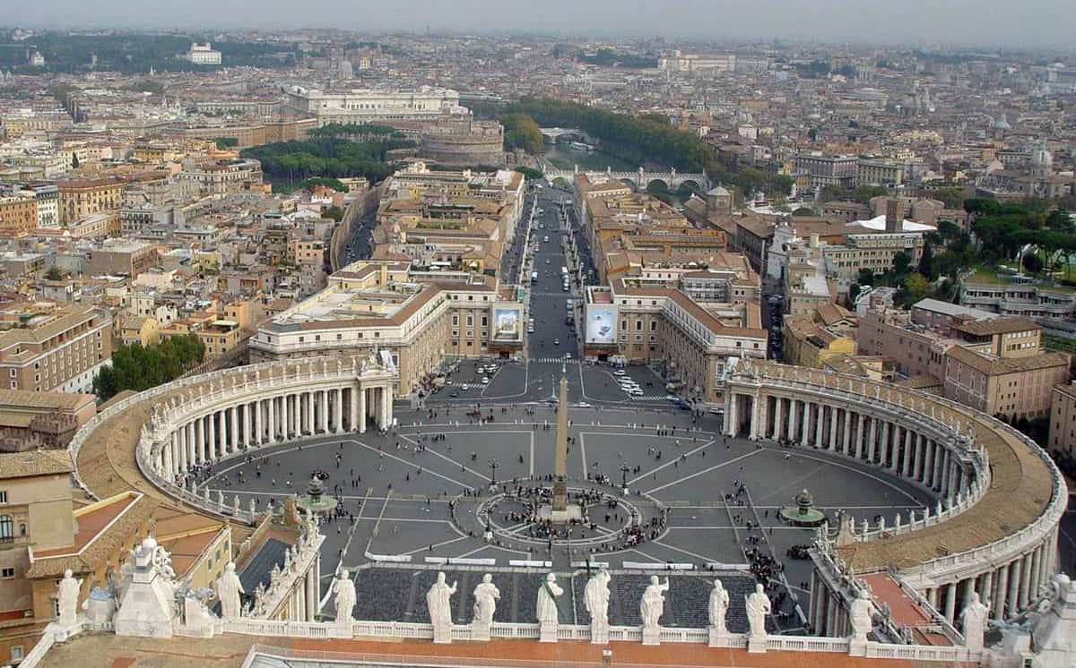 View of St. Peter's Square in the Vatican as seen from the top of St. Peter's Basilica.