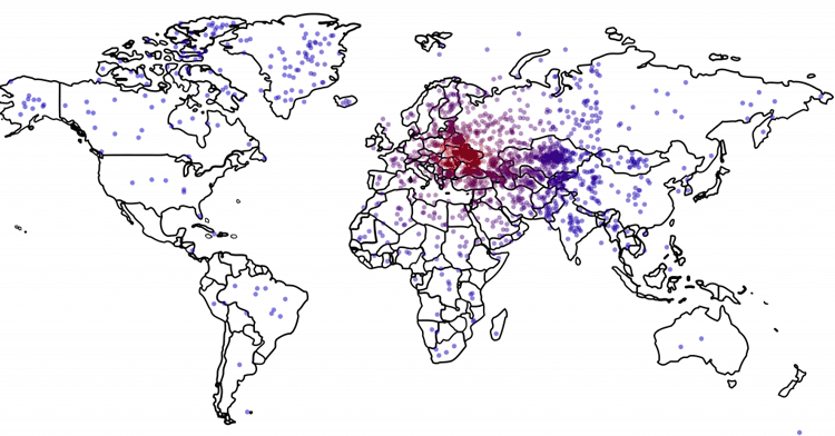 Each dot on this map represents the guess by a poll respondent on where Ukraine is. Data: Survey Sampling International; Figure: Thomas Zeitzoff/The Monkey Cage