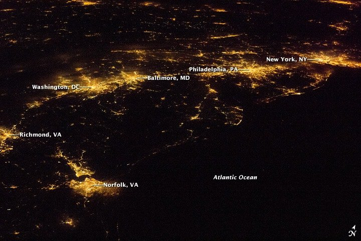 Light pollution along the Eastern Seaboard in the United States. Image: NASA.