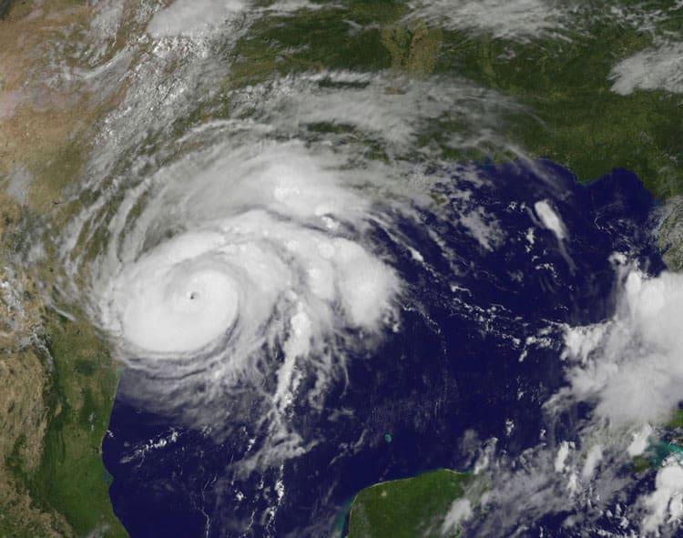 View of Hurricane Harvey as it nears the southeastern coast of Texas. Source: NASA/NOAA GOES Project