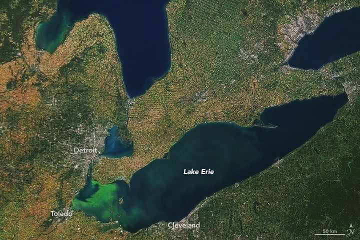 Lake Erie's phytoplankton bloom. Image captured on September 24, 2017 by NASA's Terra satellite.