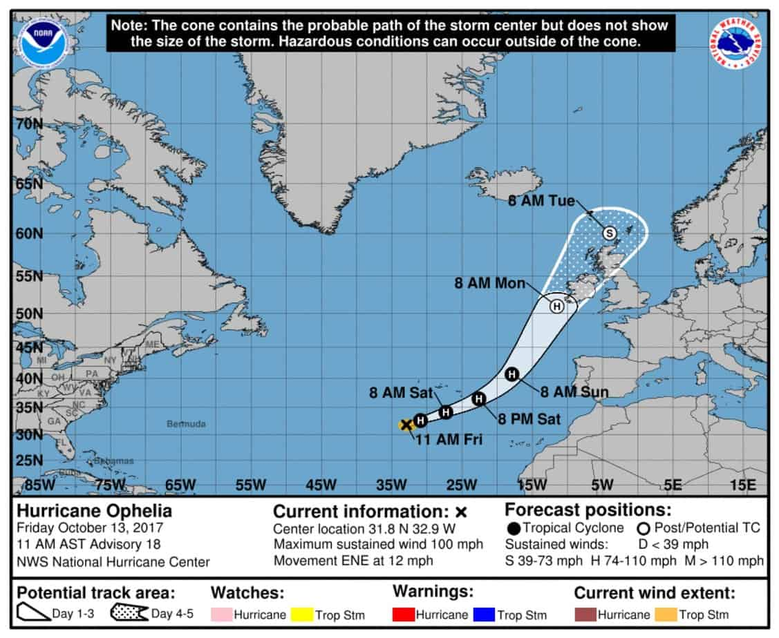 Map: Forecast Cone for Ophelia, National Hurricane Service.