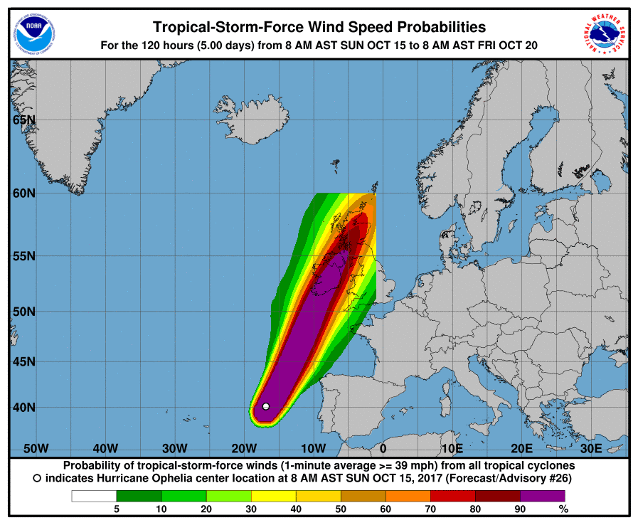 Map: Wind speed probabilities for Ophelia, National Hurricane Service
