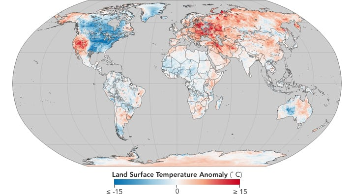 Map of cold and hot temperature anomalies across the world much of europe asia the middle east the horn of africa antarctica and australia have extensive areas with higher than normal surface temperatures gumiabroncs Images