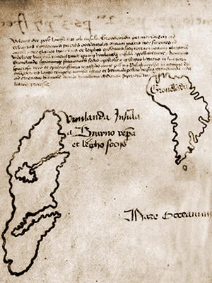 "A detailed section of the Vinland Map depicting Greenland, on the right, and the eponymous ""Vinland"" on the left. Image: Yale University."