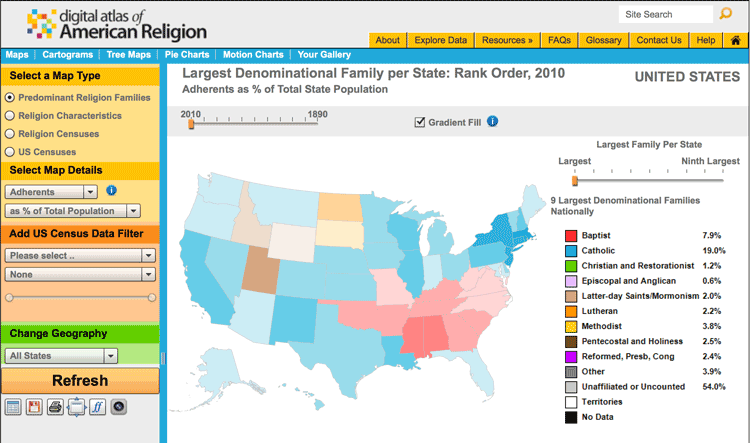 Geography and religion geolounge all things geography one tool used to map religions in the united states is the digital atlas of american gumiabroncs Choice Image