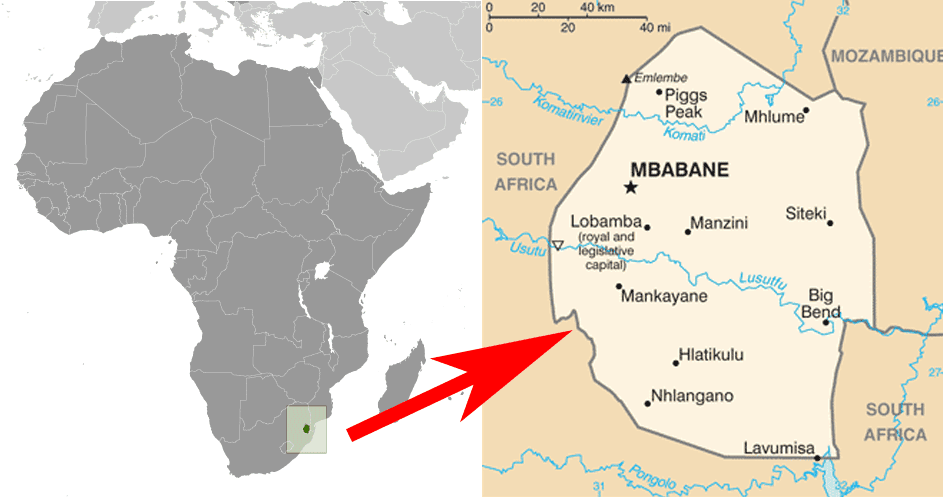 Map and locator map of eSwatini, formerly known as Swaziland.  Maps: CIA World Factbook.